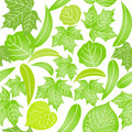 Seamless pattern with  green leaves on wh Stock Photo