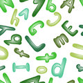 Seamless pattern with green letters. Wallpaper with ABC.