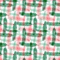 Seamless pattern with green and red fir tree branches. Vector checkered for Christmas textile design. Royalty Free Stock Photo