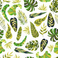 Seamless pattern with green tropical leaves