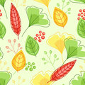 Seamless pattern with green and yellow leaves vector Stock Image