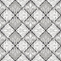 Seamless  pattern on grey and white squares arranged in a checkerboard pattern background Royalty Free Stock Photo