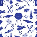 Seamless pattern with grill, barbecue tools. BBQ Royalty Free Stock Photo
