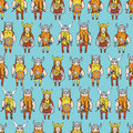 Seamless pattern with grumpy dangerous vikings Royalty Free Stock Photo