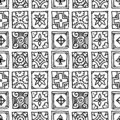 Seamless pattern of grunge tiles. Vintage Islam, Arabic, Indian, ottoman decorative design elements. Patchwork handdrawn motifs