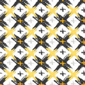 Seamless pattern with grunge yellow and black cross textures. Fashion hipster background. Vector for web, print, fabric, textile, Royalty Free Stock Photo