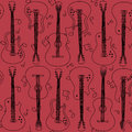 Seamless pattern of guitars contour Royalty Free Stock Photography