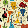 Seamless pattern of guitars different kind Royalty Free Stock Photography