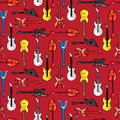 Seamless pattern with guitars different shapes Royalty Free Stock Photo