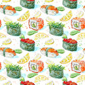 Seamless pattern of a gunkan, sushi and roll. Japanese cuisine.