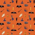 Seamless pattern for Halloween. Hand drawing. Orange background. Vector.