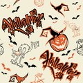 Seamless pattern. Halloween. Lettering. Funny cartoon pumpkin monster in witch hat. Bat. Cat monster. Orange background.Vector. Royalty Free Stock Photo