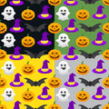 seamless pattern for Halloween, pumpkin, ghost, witch hat