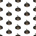 Seamless pattern with Halloween pumpkins with scary stare
