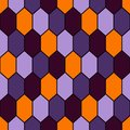 Seamless pattern in Halloween traditional colors with diamonds grid. Turtle shell motif. Honeycomb wallpaper. Royalty Free Stock Photo