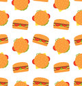 Seamless Pattern with Hamburgers. Fast Food Wallpaper