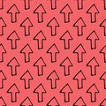 Seamless pattern Hand Drawn arrow doodle. Sketch style icon. Decoration element. Isolated on white background. Flat design. Vector Royalty Free Stock Photo