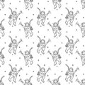 Seamless pattern hand drawn astronaut spaceman. Doodle black sketch. Sign symbol. Decoration element. Isolated on white