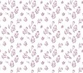 Seamless pattern of hand drawn blooming tulips and wild herbs.
