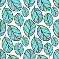 Seamless pattern with hand drawn blue and green leaves on the white background. Fabric, wallpaper, wrapping. Spring, summer doodle Royalty Free Stock Photo