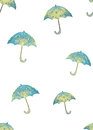 Seamless pattern with hand drawn blue umbrellas with white circles on white background