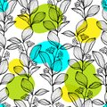 Seamless pattern Hand drawn branch with bright abstract color spots