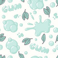 Seamless pattern with hand drawn bubble gum. Mint flavor