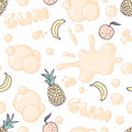 Seamless pattern with hand drawn bubble gum. Multifruit flavor. Food background