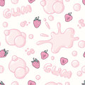 Seamless pattern with hand drawn bubble gum seamless pattern. Strawberry flavor. Pink background