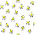 Seamless pattern. Hand drawn bulbs trios. Electricity theme. Also a concept of leadership and success
