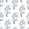 Seamless Pattern with hand drawn bushes with berries. Winter-Mer