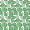 Seamless pattern with hand drawn cabbage on white backdrop.