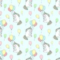 Seamless pattern of hand-drawn cartoony smiling unicorns with balloons. Vector background image for holiday, baby shower, prints,