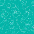 Seamless pattern with hand drawn cats. Blue background