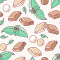 Seamless pattern with hand drawn chocolate and mint flavor