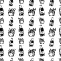 Seamless pattern hand drawn cola and French fries doodle. Sketch