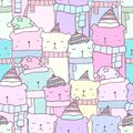 Seamless pattern with hand drawn cute bear family in pastel color. Kawaii background