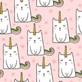 Seamless pattern with hand drawn cute cats unicorn. Cartoon cat illustration. Perfect for kids fabric,textile,nursery wallp