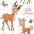 Seamless pattern with hand drawn cute, romantic, dreaming baby princess deer, fawn with floral wreath. Royalty Free Stock Photo