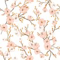 Seamless pattern with hand drawn decorative cherry blossom flowers,