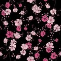 Seamless pattern with hand drawn decorative cherry blossom flowers, design elements.