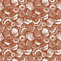Seamless pattern with hand drawn doodle bakery products. Vector set of elements for menu design cake, teapot, croissant