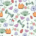 Seamless pattern with hand drawn doodle elements Royalty Free Stock Photo