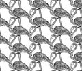 Seamless pattern with hand drawn flamingo birds in doodle style. Royalty Free Stock Photo