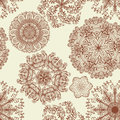 Seamless pattern with hand drawn flowers elegant vintage monochrome Stock Image