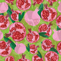 Seamless pattern with hand-drawn fresh pomegranate and leaves on green background. For card, wrapping, banners.