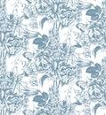 Seamless pattern with hand drawn garden flowers
