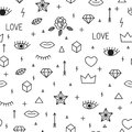 Seamless pattern with hand drawn geometric elements. Abstract trendy background. Memphis style. Modern sketch