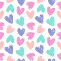 stock image of  Seamless pattern with hand drawn hearts.
