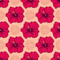 Seamless pattern with hand drawn hibiscus flowers Royalty Free Stock Photo